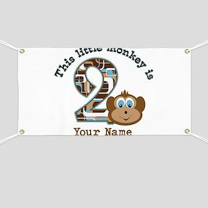 2nd Birthday Monkey Personalized Banner