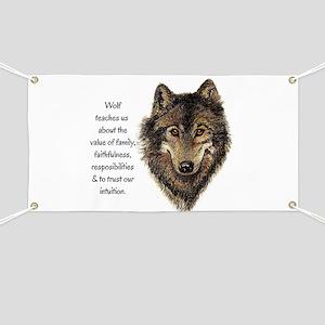 Wolf Totem Animal Guide Watercolor Nature Art Bann