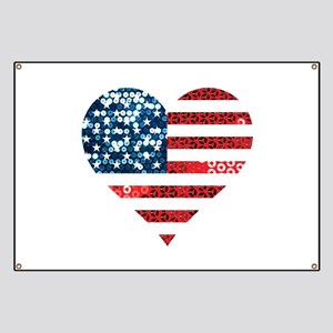 usa flag heart Banner