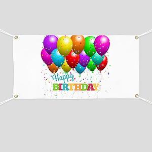 Trendy Happy Birthday Balloons Banner
