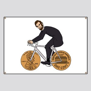 Abraham Lincoln On A Bike With Penny Wheels Banner