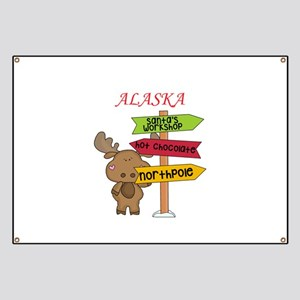 Alaska Moose What Way To The North Pole Banner