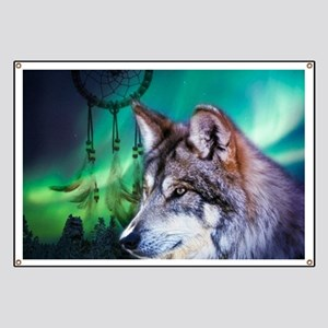 dream catcher northern light wolf Banner