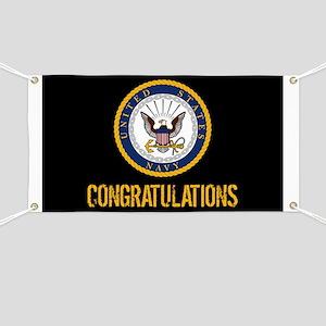 U.S. Navy: Congratulations (Black & Gold) Banner