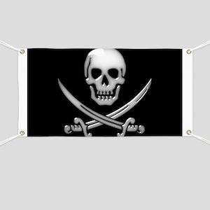 Glassy Skull and Cross Swords Banner