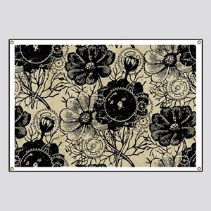 Flowers And Gears Black Banner