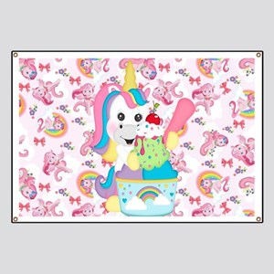 Unicorn Loves Ice Cream Banner