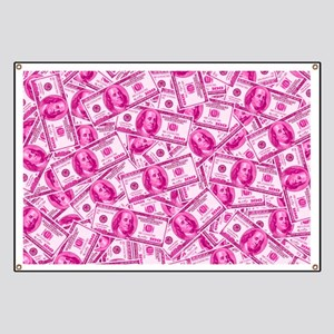 Pink Hundred Dollar Bill Pattern Banner