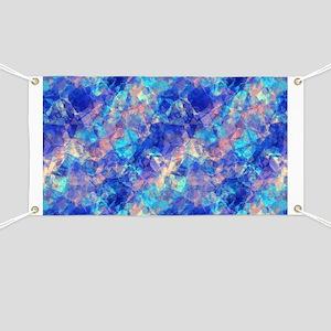 Azure Blue Crumpled Pattern Marble Banner
