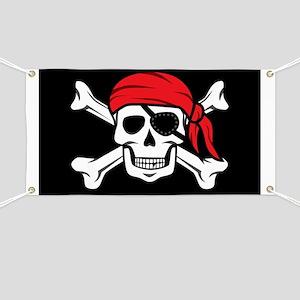Jolly Roger Pirate (on Black) Banner