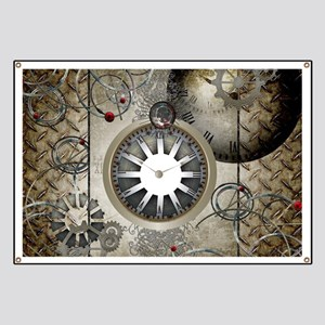 Steampunk, clocks and gears Banner