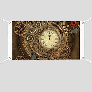 Steampunk, clockwork with gears Banner