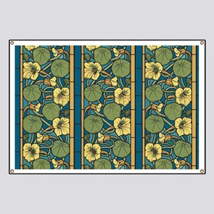 Blue and Yellow Floral Nouveau Banner