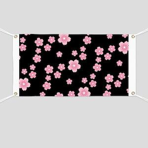 Cherry Blossoms Black Pattern Banner