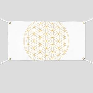 Flower of Life Gold Line Banner