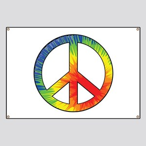 Peace Sign Tie Dye Offset Rainbow Banner