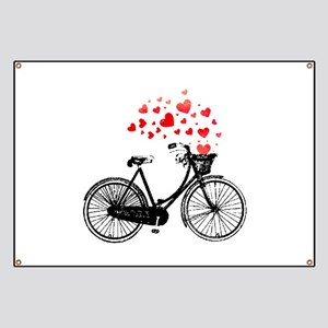 Vintage Bike with Hearts Banner