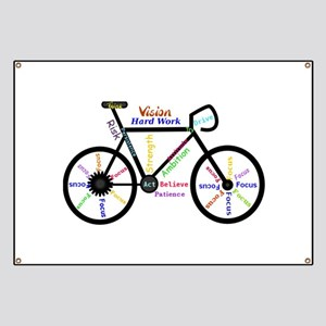 Bike made up of words to motivate Banner