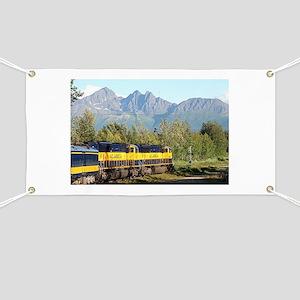 Alaska Railroad locomotive engine & mountai Banner