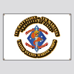 1st Bn - 4th Marines with Text Banner