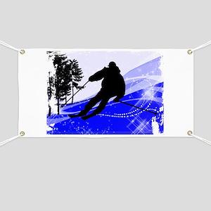 Downhill on the Ski Slope Edges Banner