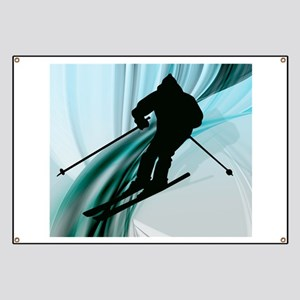Downhill Skier on Icy Ribbons Banner