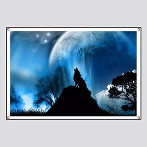 Wolf Howling At The Moon Banner