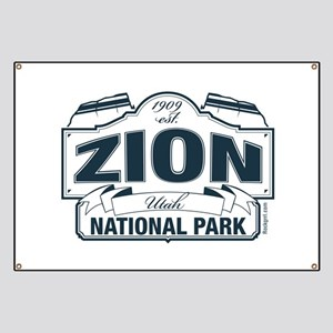 Zion National Park Blue Sign Banner
