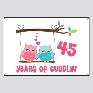 45th Anniversary Owl Couple Banner