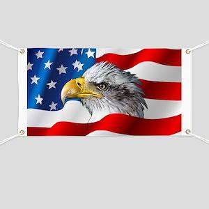 Bald Eagle On American Flag Banner