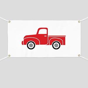 Vintage Red Truck Banner