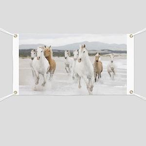 Horses Running On The Beach Banner