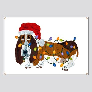 Basset Tangled In Christmas Lights Banner