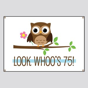 75th Birthday Owl Banner
