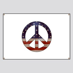 Weathered Flag Peace Sign Banner