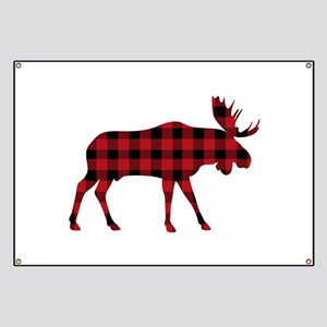 Plaid Moose Animal Silhouette Banner