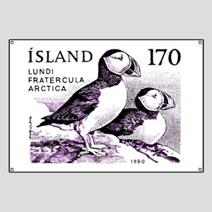 1980 Iceland Atlantic Puffins Postage Stamp Banner