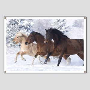Horses Running In The Snow Banner
