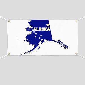 Alaska State Map and Flag Banner