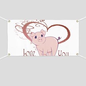 Love You, Cute Piggy Art Banner