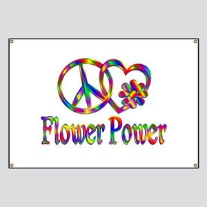 Peace Love Flower Power Banner