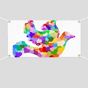 Rainbow Dove of Hearts Banner