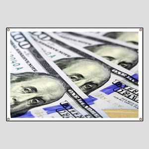 US Currency One Hundred Dollar Bill Banner