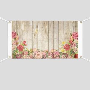 Vintage Rustic Romantic Roses Wood Banner