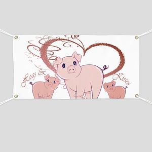 Hogs and Kisses Cute Piggies art Banner