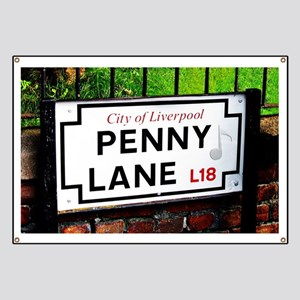 Penny Lane liverpool England Sign with musi Banner