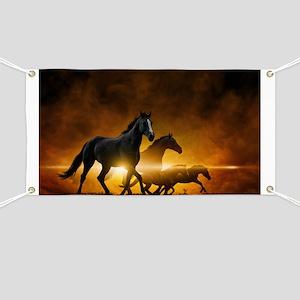 Wild Black Horses Banner