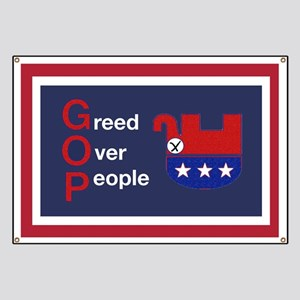 GOP, Greed Over People Banner