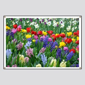 Spring garden flowers Banner