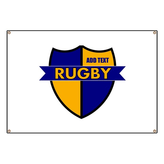 Rugby Shield Blue Gold Banner By Mostly For Athletes Shopping Pagoda Cafepress